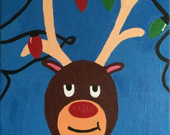 Rudolph Christmas Painting