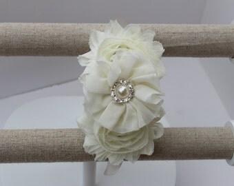 Ivory girls headband ivory Flower girl headband ivory wedding headband plastic satin headband toddler cream headband flower girl