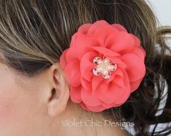 Coral hair clips, coral flower girl hair clip coral bridesmaid hair flower coral hair piece coral flower girl headband coral wedding flowers