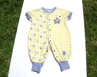 vintage gymboree size newborn see measurements more like size 3-6 months boys romper yellow with blue white trim and  clowns