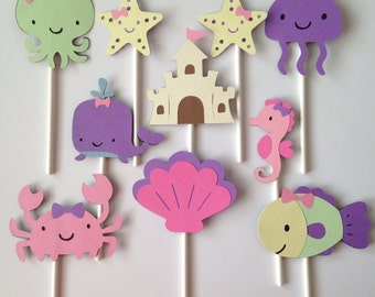 Under the Sea Cupcake Toppers | Nautical Cupcake Toppers | Under the Sea Party Decorations | Nautical Party