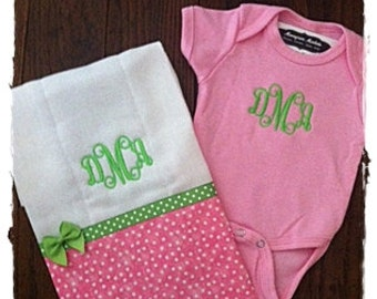 Monogrammed Onesie and Burp Cloth Set