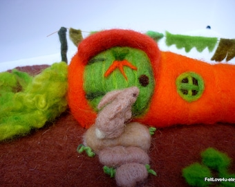 Bunny Home / Carrot House©: Eco-Friendly Needle Felted Soft Sculpture for Waldorf Nature Tableau! Carrot Home 27 x 6 cms Garden 40 x 20 cms.