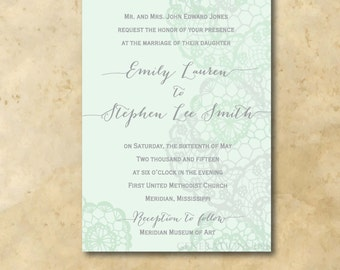 Gorgeous Mint and Gray Wedding Invitation with Watercolor/Lace Design / digital file / printable / Wording and Ink color can be changed