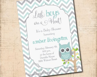 Owl Baby Boy Shower Invitation / digital file / printable / wording and colors can be changed