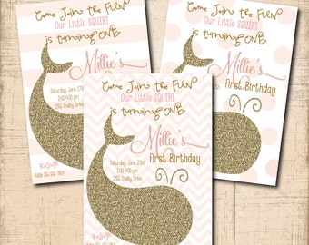 Whale Birthday Invitation printable/Digital File/Girl First Birthday, swim party, pool party, gold and pink, /Wording can be changed