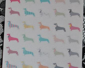 Dachshund Doxie Dog Stickers for Erin Condren Life Planner or Calendar Set 2