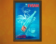 Quality Poster - Evian The Lightest Water Poster -  Vintage Kitchen Poster Water Drink Retro Wall Decor Home Design Art Prin