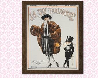 La Vie Parisienne Cover Print 1921 - Vintage Fashion Illustration Fashion Fashion Print Feminine Fashion Art  t