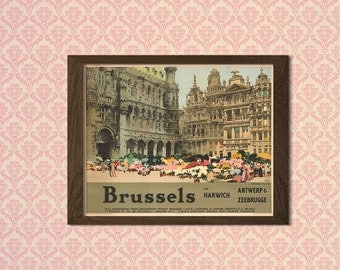 Brussels - Vintage Tourism Travel Poster Advertising Retro Wall Decor Office decoration   Reproductiont