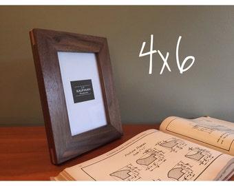 4x6 Wooden Picture Frame - Walnut wood with Cherry Splines - Glass - Handmade (Single) - Wedding gift