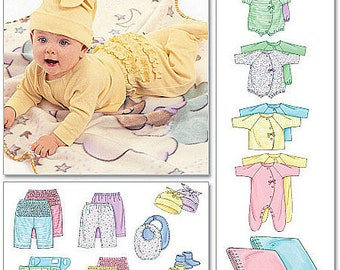 McCall's sewing pattern Newborn and Infant Coveralls, Top Bodysuit, Pants, Diaper Cover, Blanket, Booties, Bib & Hat - new and uncut