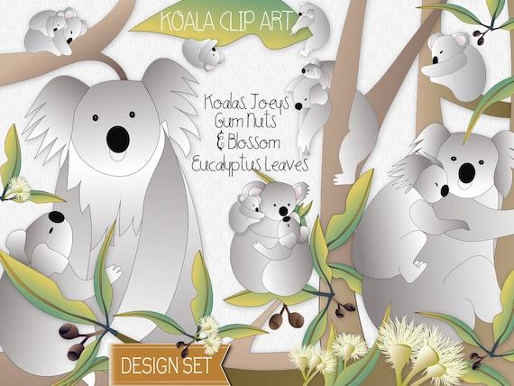 Koala Art And Design : Items similar to koalas and eucalyptus clip art design