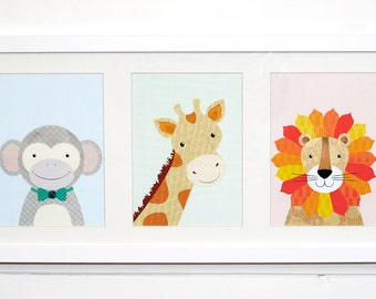 Framed Animal Nursery Print - Set of 3 in a Matted Wood and Glass Frame