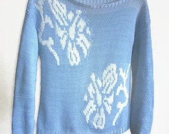 Hand Knit Sweater.Knit top.Knit Sweater. Floral Sweater.Pullover.Hand Knit Pullover.Womens sweater.Womens pullover. Floral pattern.