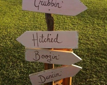 directional wedding sign - handmade from reclaimed wood - perfect wedding accessory