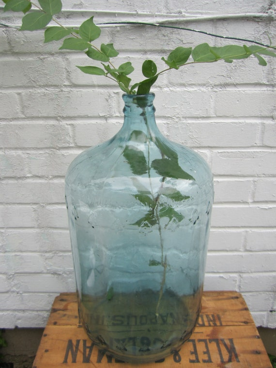 Vintage Carboy Jug Blue Glass 5 Gallon Embossed Trees On