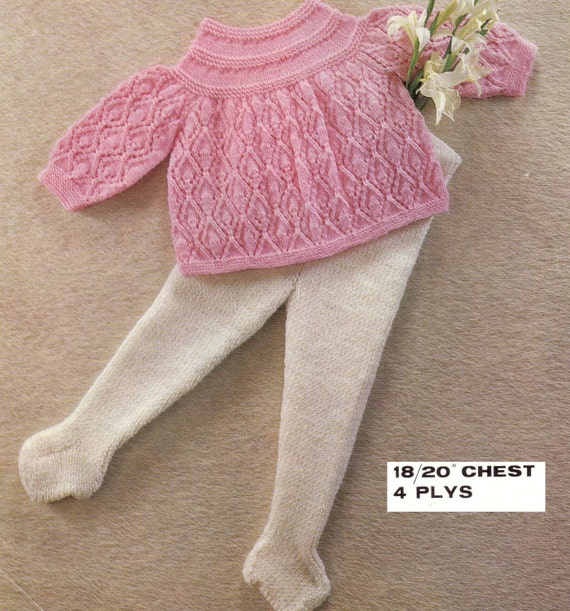 Knitting Pattern For Toddler Leggings : Knit Baby Angel Top and Tights Leggings Vintage Pattern