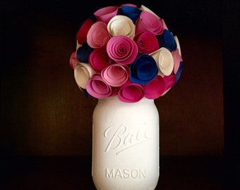 Rustic shades of pink, cream and navy paper rose bouquet in hand painted mason jar!!