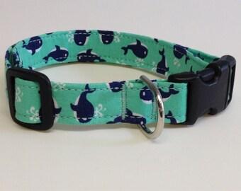 "Adjustable Whale Print Dog Collar (medium 3/4"" wide)"