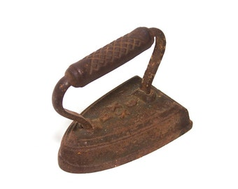 Antique Cast Iron sad iron,  flat iron, farmhouse antiques, country primitive, rustic home decor, paper weight, door stop, industrial B XX 6