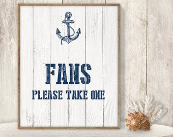 Fans, Please Take One // Wedding Reception Fan Sign DIY // Nautical Sign, Navy Anchor Printable PDF // Nautical Planks ▷ Instant Download