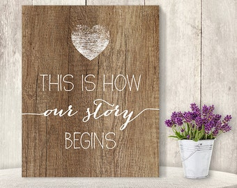 This Is How Our Story Begins // Romantic Wedding Sign DIY // Rustic Wood Sign, Calligraphy Printable ▷ Instant Download