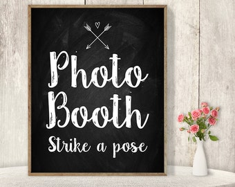 Wedding Photo Booth Sign / Strike A Pose Sign / Wedding Sign DIY / Rustic Chalkboard Poster, Arrow, Heart, Chalk Lettering ▷Instant Download