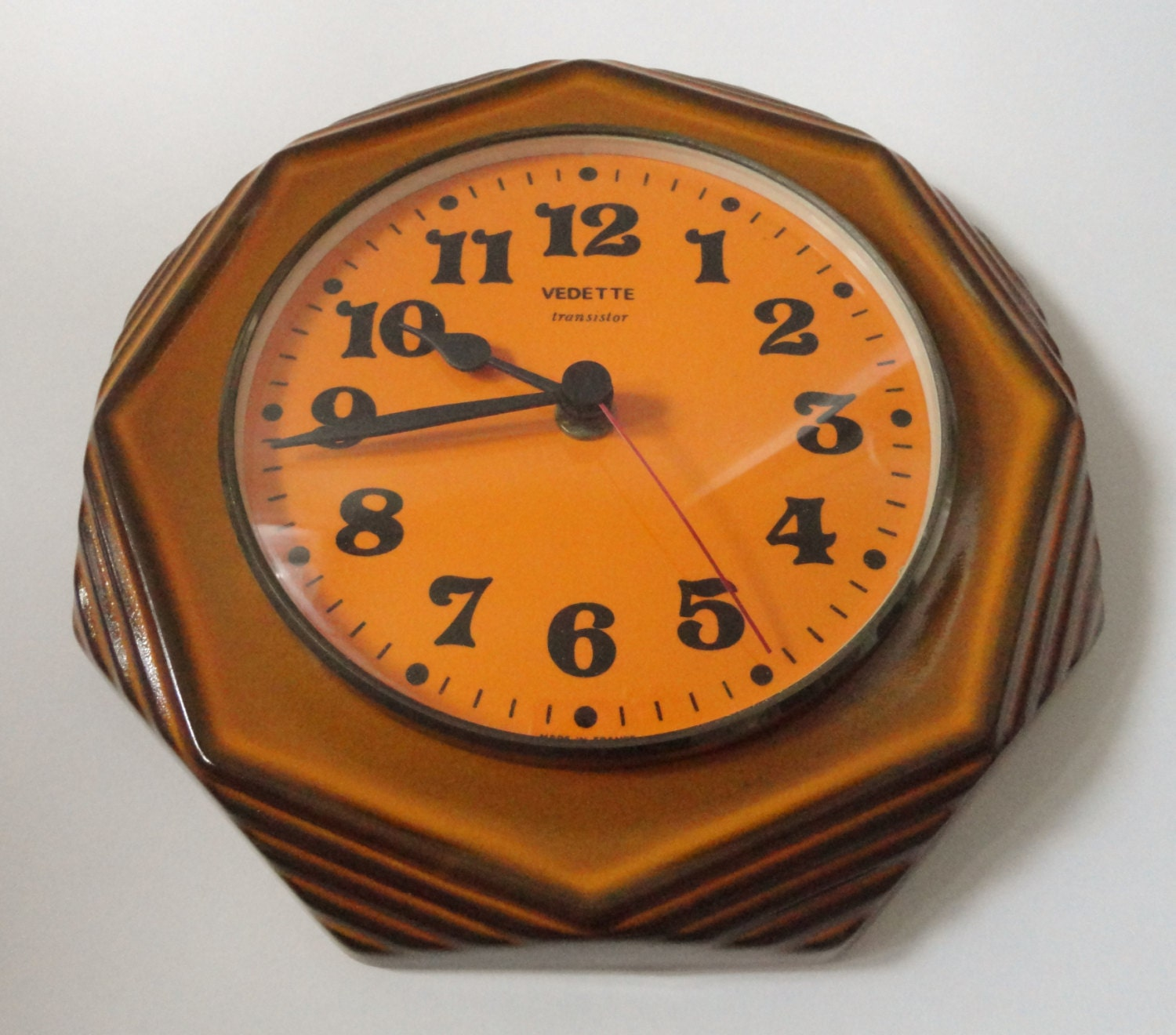 60s vintage kitchen wall clock vedette transitor made in