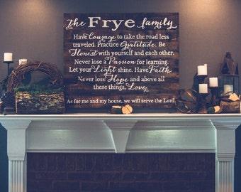 Large Family Mission Statement Sign~ Frye Design {LFMSFD36X24}