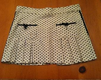 White & black polka dot pleated skirt size S, handmade vintage, very cute, one of a kind!