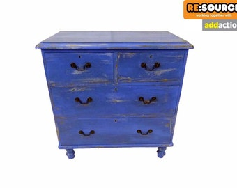 Upcycled Shabby Chic Victorian Pine Chest of Drawers in Bluebell 63458