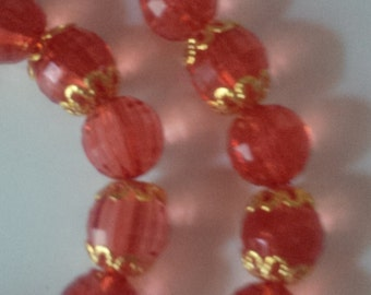 Red Beaded Necklace and Bracelet Set   (#250)