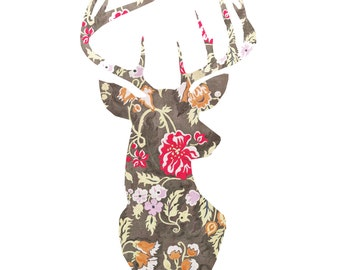 Decorative Deer Head Print, Deer Head Silhouette, Floral Art, Stag Head Art Print, 8x10 Print, Deer Head Print, Shabby Chic Print