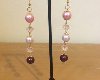 Pink and Burgundy Glass Beads Earrings