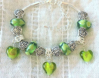 Green Love Charm Glass Lampwork Heart Silver Plated Bracelet 7-9 Inches Adjustable