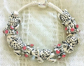 Kids Frog Charm Antique Pink Rhinestone Silver Plated Bracelet 6 Inches