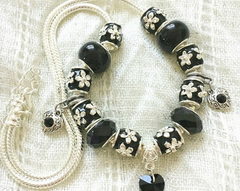 Black Crystal Heart Charm Glass Beads Necklace 20 Inches