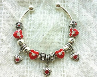 Mom Red Rhinestone Heart Charms Silver Plated Bangle Bracelet 7.5 Inches