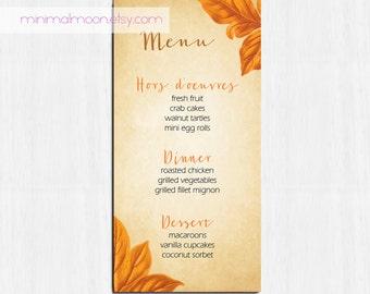 Autumn menu, autumn wedding menu, rustic menu, leaves wedding menu, rustic menu, wedding menu, fall wedding menu, golden menu, botanical