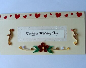 """Long Tent Style Quilled Wedding Card 8.5"""" x 4.5"""""""