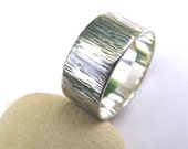 Sterling silver bark texture ring, textured silver ring, handmade silver ring, oxidised silver ring, men's ring, nature jewellery, Dorset