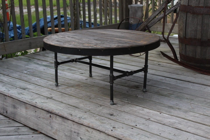 Round Coffee Table Metal And Wood Table Metal Trim Table Etsy