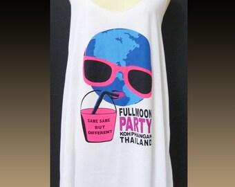 Funny shirt blue full moon tank top dress party artwork A line tank sleeveless shirt racer back tank/ women tunic top/ size S