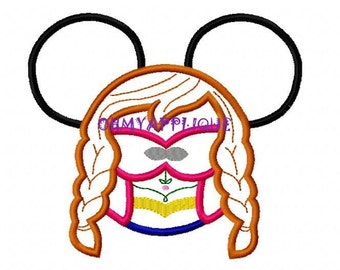 Character Freezing Cold Princess Ana Embroidery Applique Design