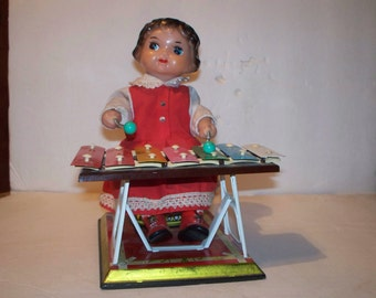 Vintage Tin Litho Wind-Up Girl Playing Xylophone Toy