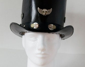 Steampunk Style Black Leather Top Hat with Hat Band, Brass & Brass Plated Embellishments