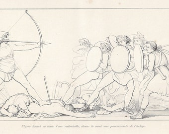 Ulysses (Odysseus), Original antique classical etching of Flaxman's illustrations Homer's Odyssey, 1835