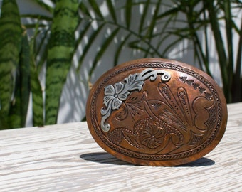 Brass and Silver Southwest Belt Buckle