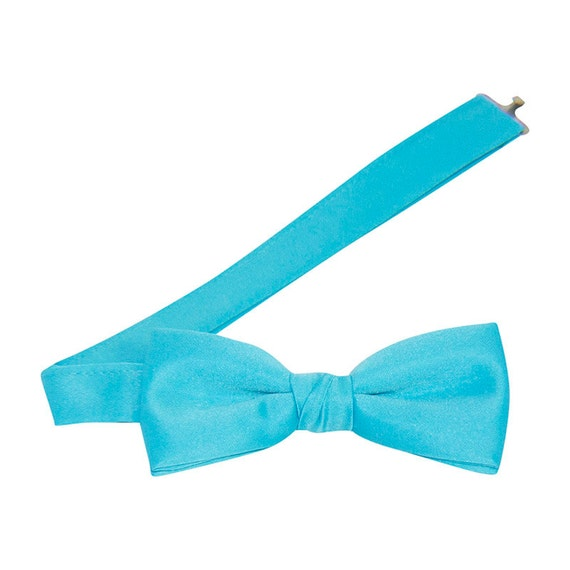 turquoise satin banded bow tie